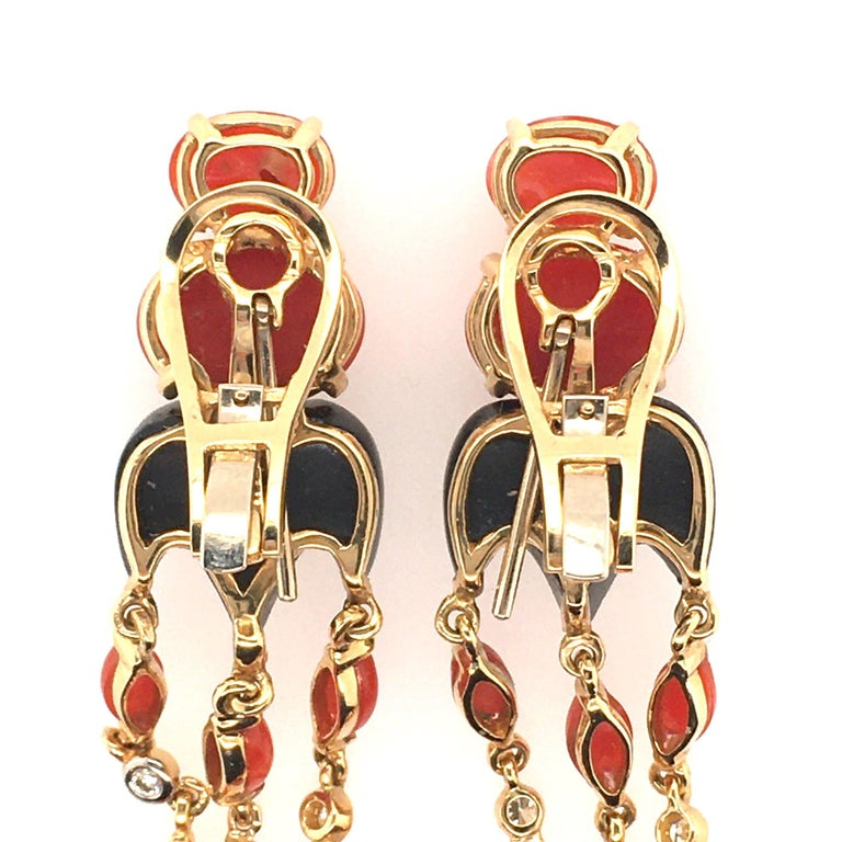 Women's or Men's Pair of Gold, Coral, Black Onyx and Diamond Dangling Earrings For Sale