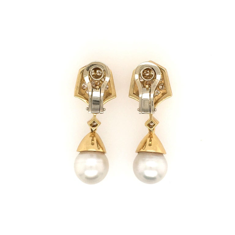 Round Cut Pair of Gold, Diamond and Pearl Drop Earrings