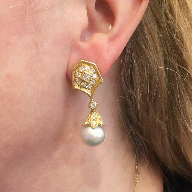 Pair of Gold, Diamond and Pearl Drop Earrings In Good Condition In New York, NY