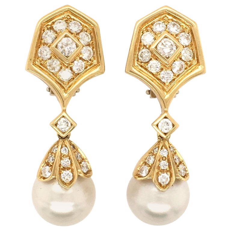 Pair of Gold, Diamond and Pearl Drop Earrings