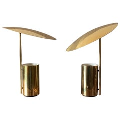 Pair of Gold George Nelson Koch Lowy Table Lamps with Adjustable Shades
