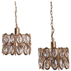 Pair of Gold-Plated Brass Framed Glass Chandeliers