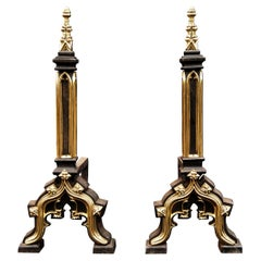 Pair of Gothic Revival Andirons in the Manner of Augustus Pugin