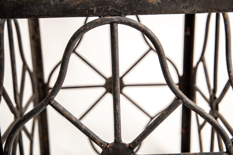 Welded Pair of grand scale wrought iron hurricane lanterns in the style of Edgar Brandt For Sale