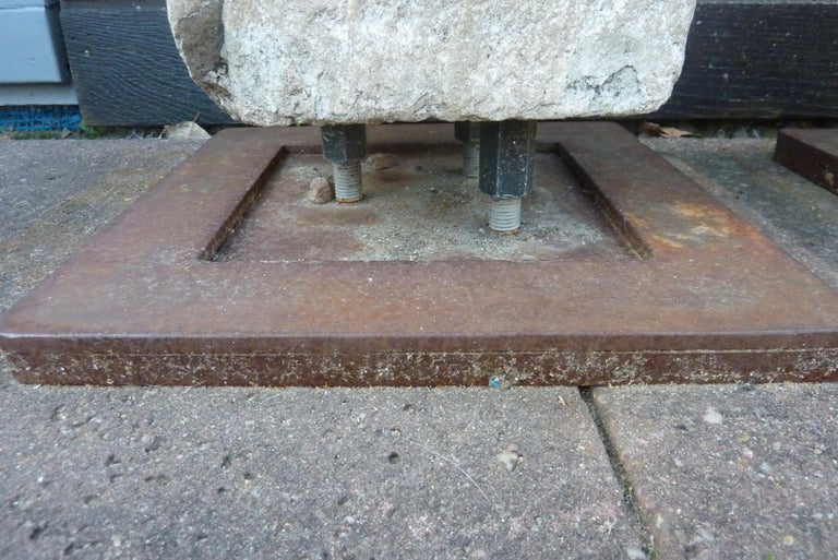 A Pair of Granite Pillars on Stabile Weathering Steel Stands For Sale 7