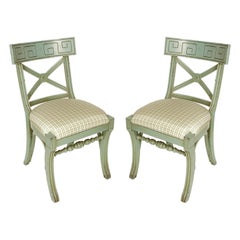 Pair of Greek Key Vintage Painted Side Chairs with Silk Check Cushions