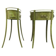 Pair of Green Metal Industrial Vintage Side Tables