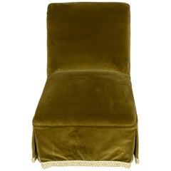 Pair of Green Velvet Slipper Chairs with Tape Trim