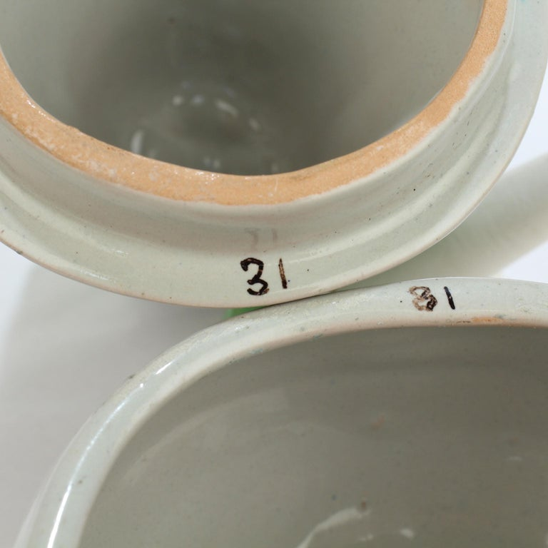 Glazed Pair of Grey Italian Pottery Covered Table Boxes, 20th Century For Sale