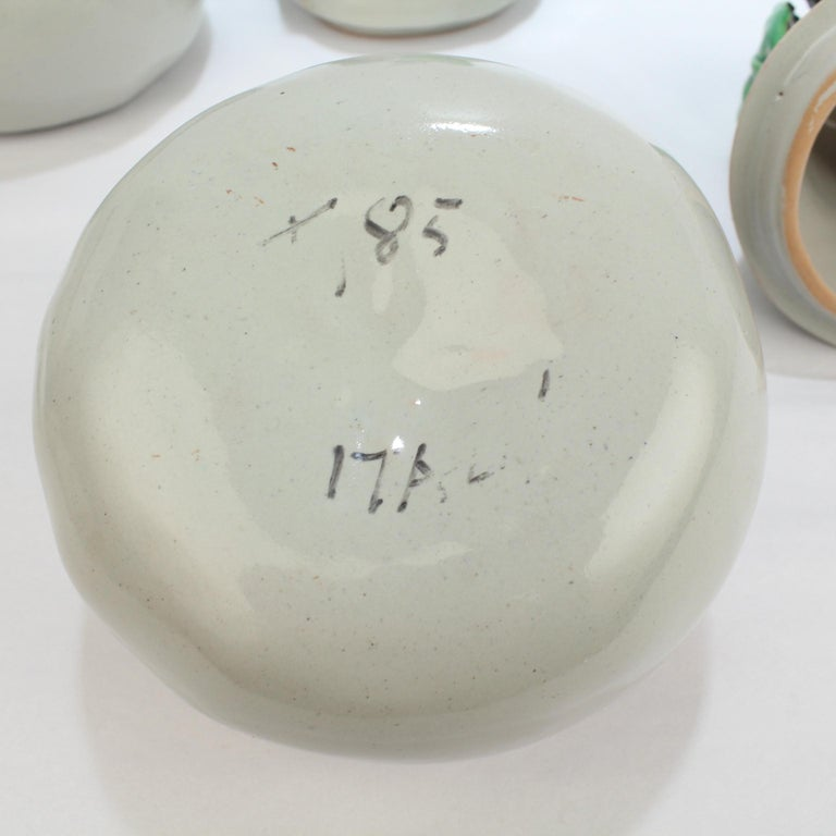 Pair of Grey Italian Pottery Covered Table Boxes, 20th Century For Sale 2