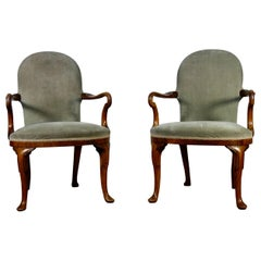 Pair of Grey Upholstered George I Style Walnut Shepherd Crook Armchairs Chair