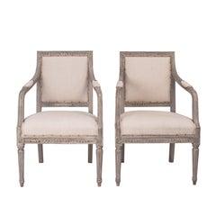 Paar Gustavianischen Stil Sessel, Schweden, um 1890