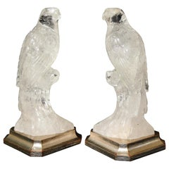 Pair of Hand Carved Clear Rock-Crystal Quartz Parrots on Silver-Gilt Bases