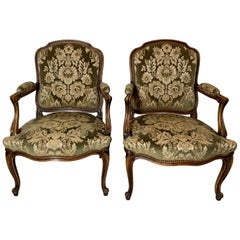 Pair of Hand Carved French Fauteils Arm Chairs