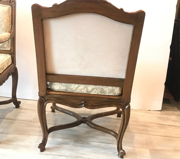 Pair of Hand Carved Walnut Armchairs For Sale 3