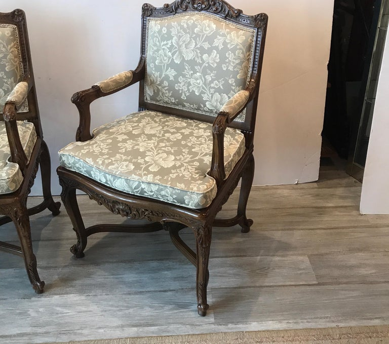 Louis XV Pair of Hand Carved Walnut Armchairs For Sale