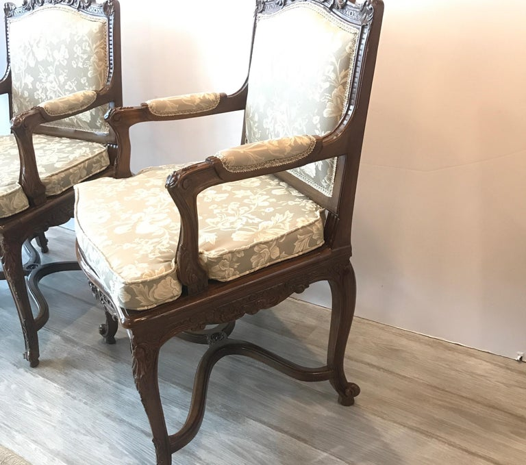 Pair of Hand Carved Walnut Armchairs In Excellent Condition For Sale In Lambertville, NJ