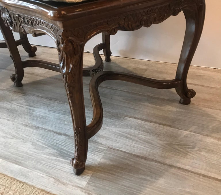 20th Century Pair of Hand Carved Walnut Armchairs For Sale