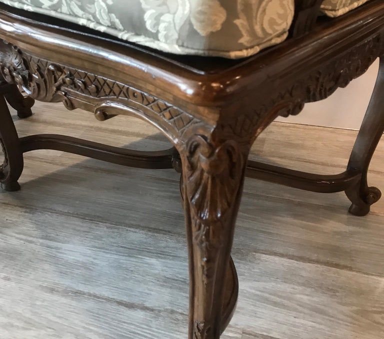 Pair of Hand Carved Walnut Armchairs For Sale 1