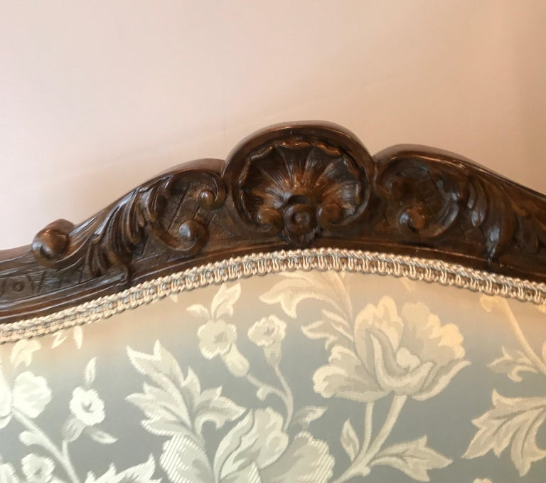 Pair of Hand Carved Walnut Armchairs For Sale 2