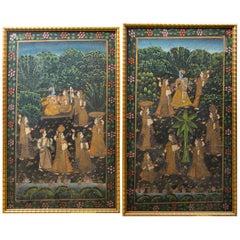 Pair of Hand Painted Indian Garden Scenes