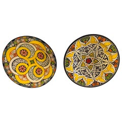 Pair of Hand Painted Large Ceramic Serving or Decorative Plates
