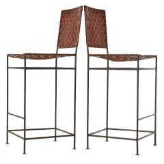 Pair of Handmade Woven Leather Stools by Swift and Monell