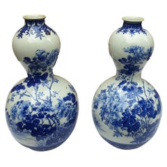 Pair of Handpainted Blue and White Meiji Period Gourd Vases