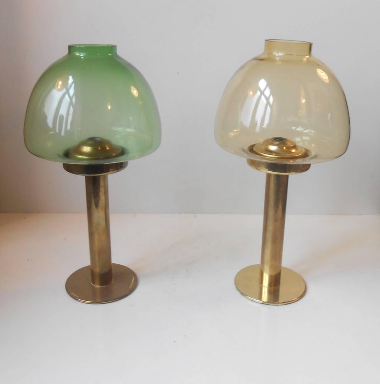 Mid-Century Modern Pair of Hans-Agne Jakobsson Glass & Brass Candle Lamps, Sweden, 1960 For Sale