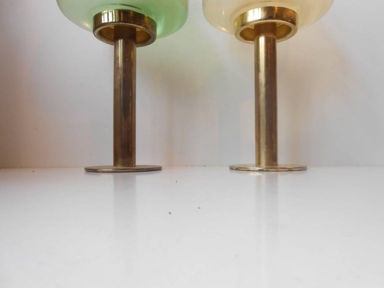 Pair of Hans-Agne Jakobsson Glass & Brass Candle Lamps, Sweden, 1960 For Sale 1