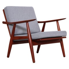 Pair of Hans J Wegner GE-270 Teak Easy Chairs, 1950s