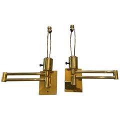 Pair of Hansen Brass Swing Arm Wall Lamps