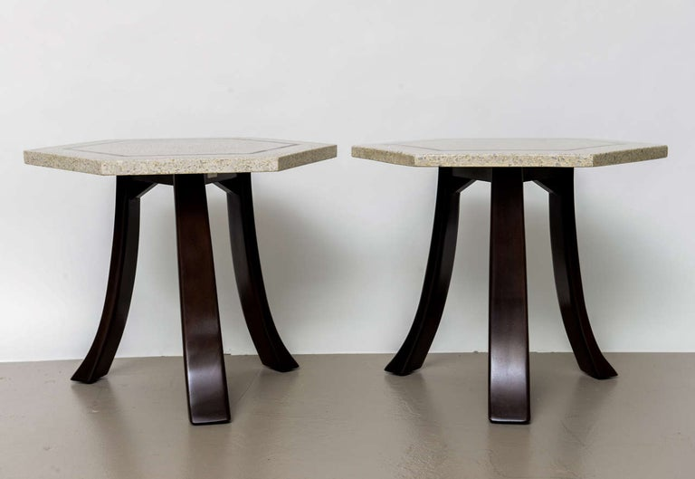 Mid-Century Modern Pair of Harvey Probber Terrazzo and Dark Walnut Tables For Sale
