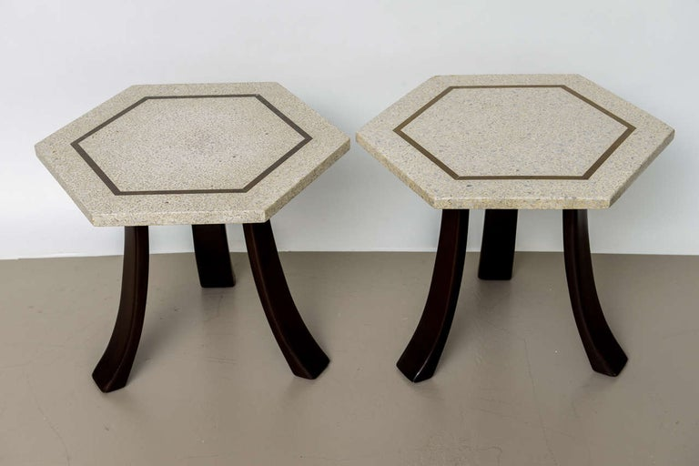 American Pair of Harvey Probber Terrazzo and Dark Walnut Tables For Sale