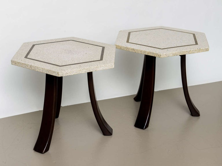 Pair of Harvey Probber Terrazzo and Dark Walnut Tables In Excellent Condition For Sale In Hollywood, FL