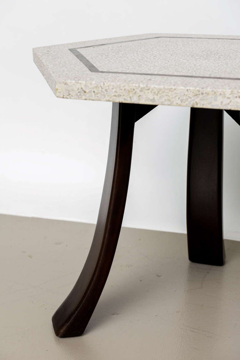 Pair of Harvey Probber Terrazzo and Dark Walnut Tables For Sale 1