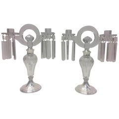 Pair of Hawkes Art Deco Glass and Sterling Candelabra