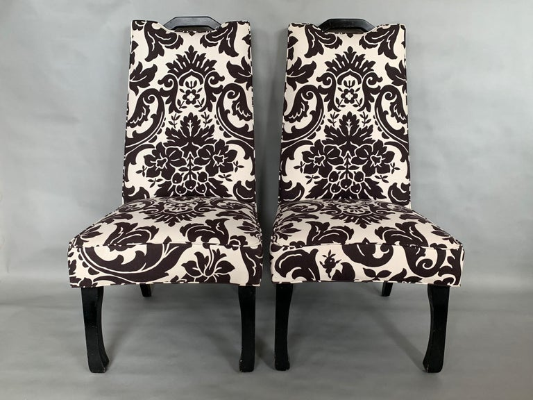 American Pair of High Back Decorator Chairs For Sale