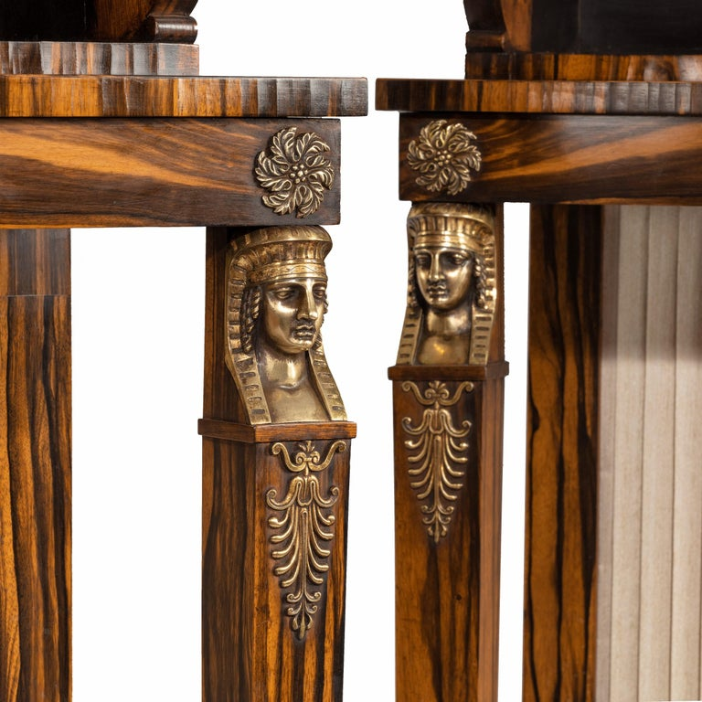 Early 19th Century Pair of High Regency Coromandel and Ormolu Bookcase Console Tables For Sale