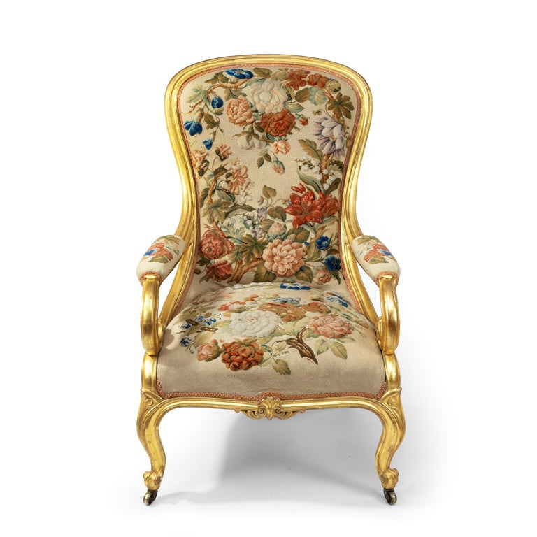 Pair of High Victorian Giltwood and Needlework Arm Chairs by Gillows, 1850 For Sale 5