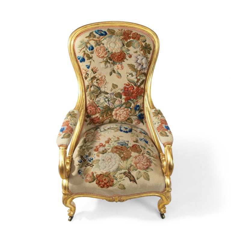 Pair of High Victorian Giltwood and Needlework Arm Chairs by Gillows, 1850 For Sale 6