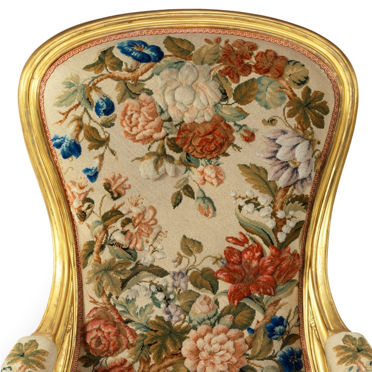 Pair of High Victorian Giltwood and Needlework Arm Chairs by Gillows, 1850 For Sale 7