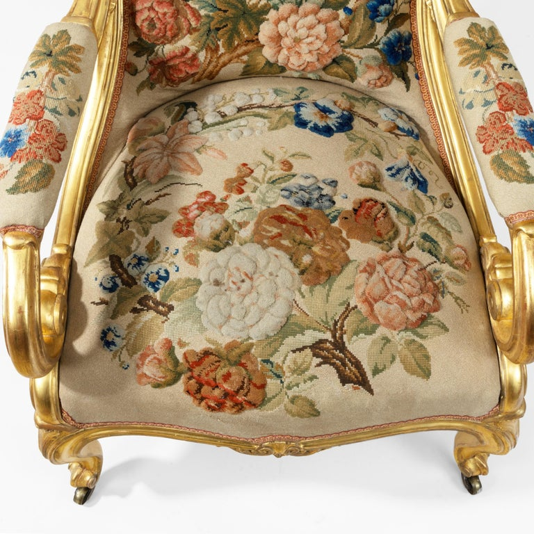 Pair of High Victorian Giltwood and Needlework Arm Chairs by Gillows, 1850 For Sale 8