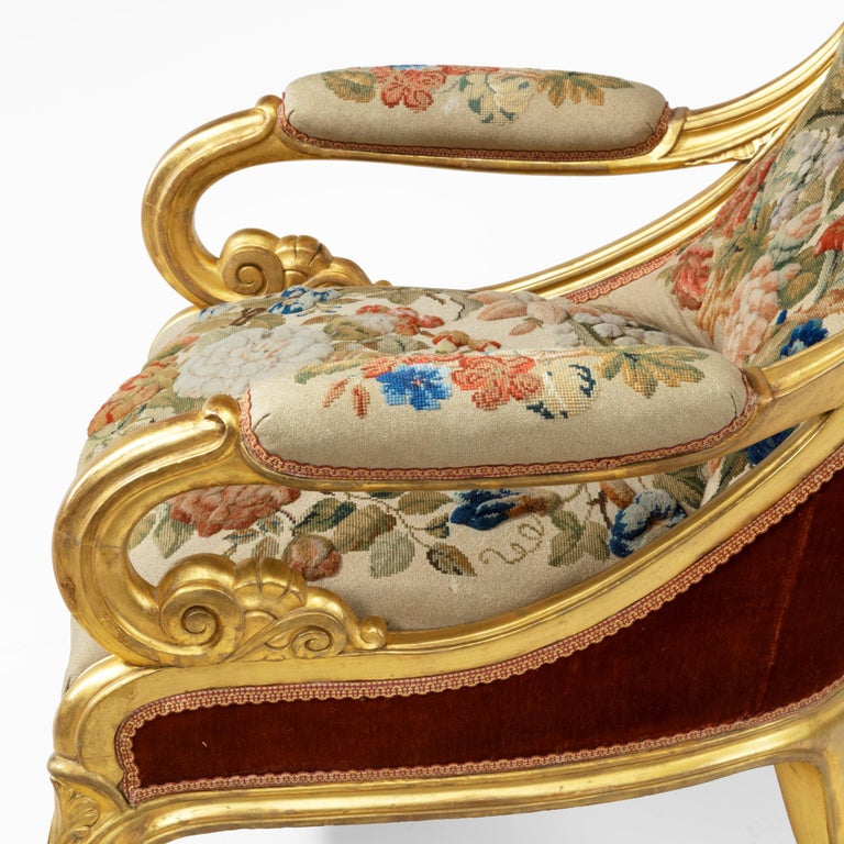 Pair of High Victorian Giltwood and Needlework Arm Chairs by Gillows, 1850 For Sale 10