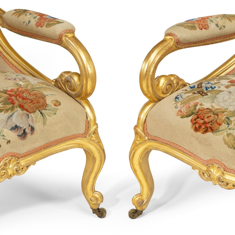 English Pair of High Victorian Giltwood and Needlework Arm Chairs by Gillows, 1850 For Sale