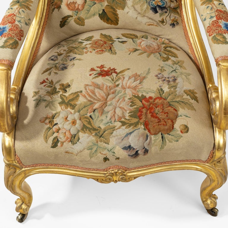 1850s Pair of High Victorian Giltwood and Needlework Arm Chairs by Gillows, 1850 For Sale