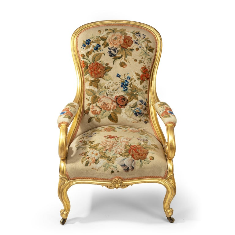 Pair of High Victorian Giltwood and Needlework Arm Chairs by Gillows, 1850 For Sale 1