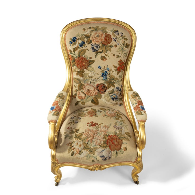 Pair of High Victorian Giltwood and Needlework Arm Chairs by Gillows, 1850 For Sale 2