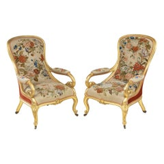 Pair of High Victorian Giltwood and Needlework Arm Chairs by Gillows, 1850