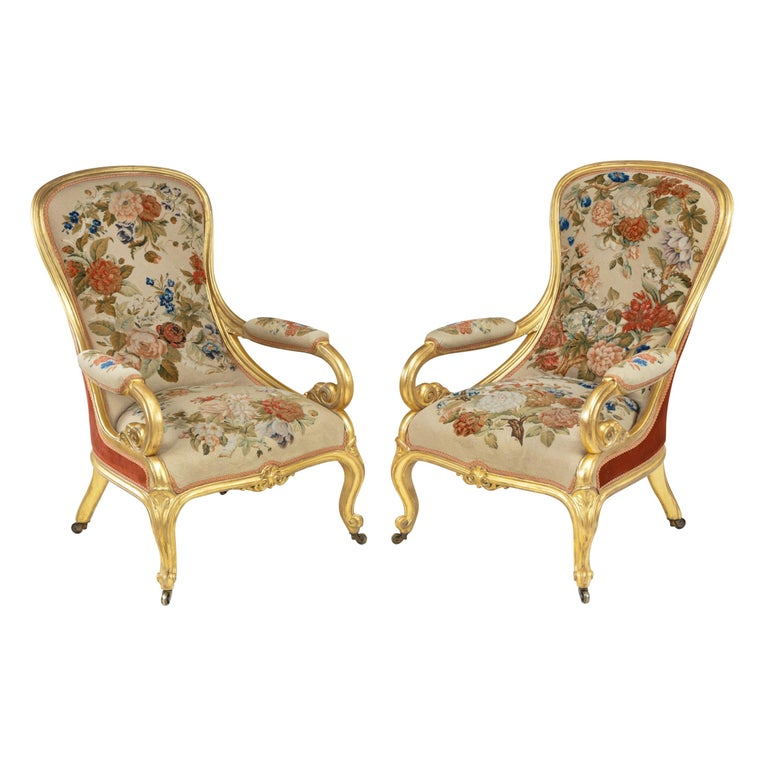 Pair of High Victorian Giltwood and Needlework Arm Chairs by Gillows, 1850 For Sale